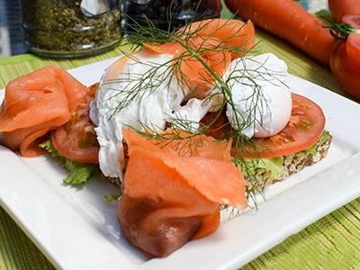 Open Salmon & Egg Sandwich