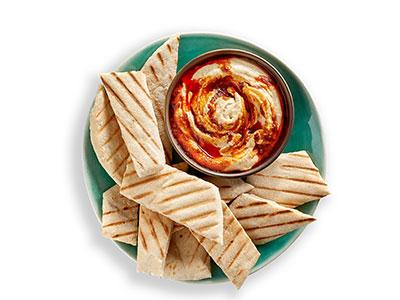 Hummus With Pita Bread And Peri-peri Drizzle