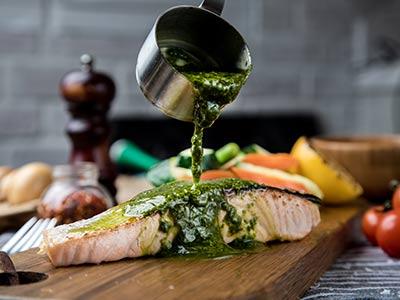 Grilled Fillet Salmon With Steamed Vegetables