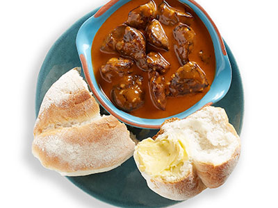 Chicken Livers And Portuguese Roll
