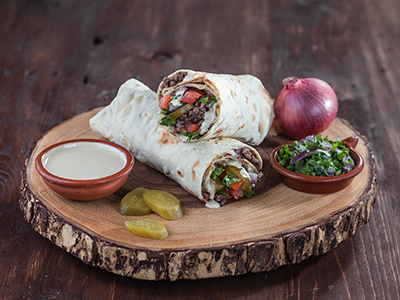 Beef Shawarma In Dough Sandwich