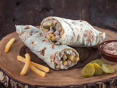 Chicken Shawarma In Dough Sandwich