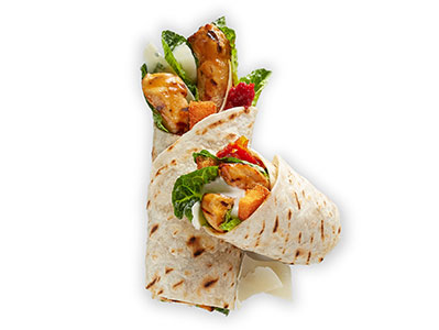 Chicken Caesar Wrap With 2 Side Dishes And Soft Drink
