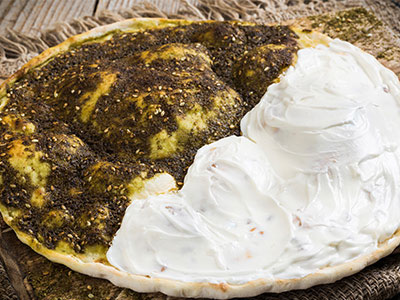 Labneh And Thyme Manoushe