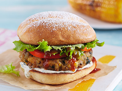 Veggie Burger With 1 Side Dish And Soft Drink