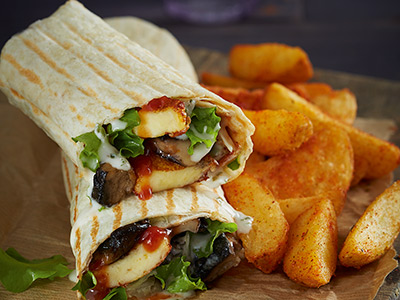 Black Mushroom And Halloumi Wrap With 1 Side Dish Order And Soft Drink