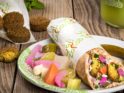Falafel Sandwich In Lebanese Bread