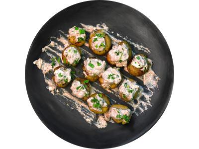 Crushed Mini Potatoes With Truffled Burrata