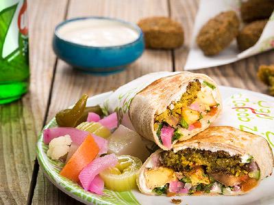Falafel Sandwich In Saj Bread