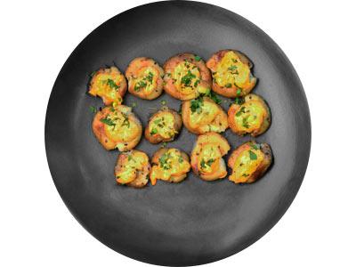 Crushed Mini Potatoes With Harissa Mayo