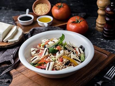 Fregola & Grilled Halloumi Salad