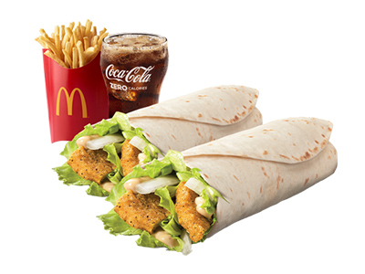 2 Chicken Snack Wrap Large Meal