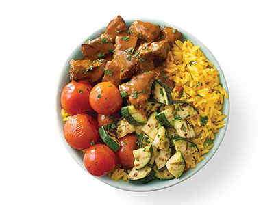 Chicken Livers, Veg And Spicy Rice With Soft Drink