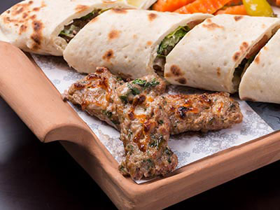 Kabab Marinated In Al Khettar's Special Spices And Cheese Sandwich