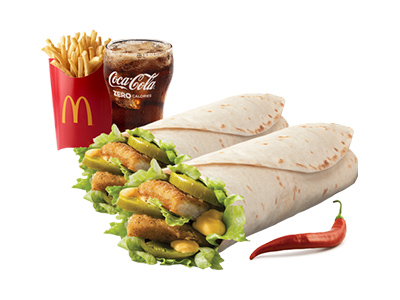 2 Spicy Chicken Snack Wrap Medium Meal