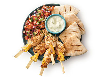 Chicken And Pineapple Skewers, Pita And Fresh Salsa With Soft Drink