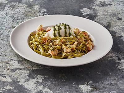 Pesto Shrimp And Burrata Cheese Pasta