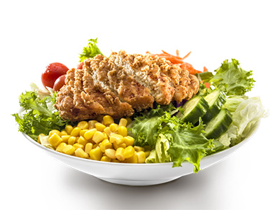 Garden Salad With Warm Crispy Chicken