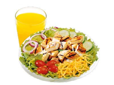 Grilled Chicken Salad And Orange Juice
